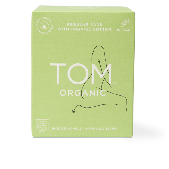 TOM ORGANIC Regular Ultra Thin Pads With Wings (10 Pads) (Expiry Date May 2025)