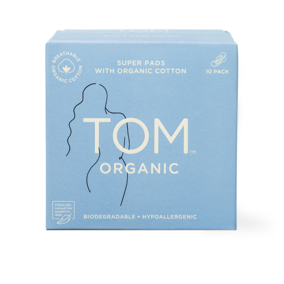 TOM ORGANIC Super Ultra Thin Pads With Wings (10 Pack)