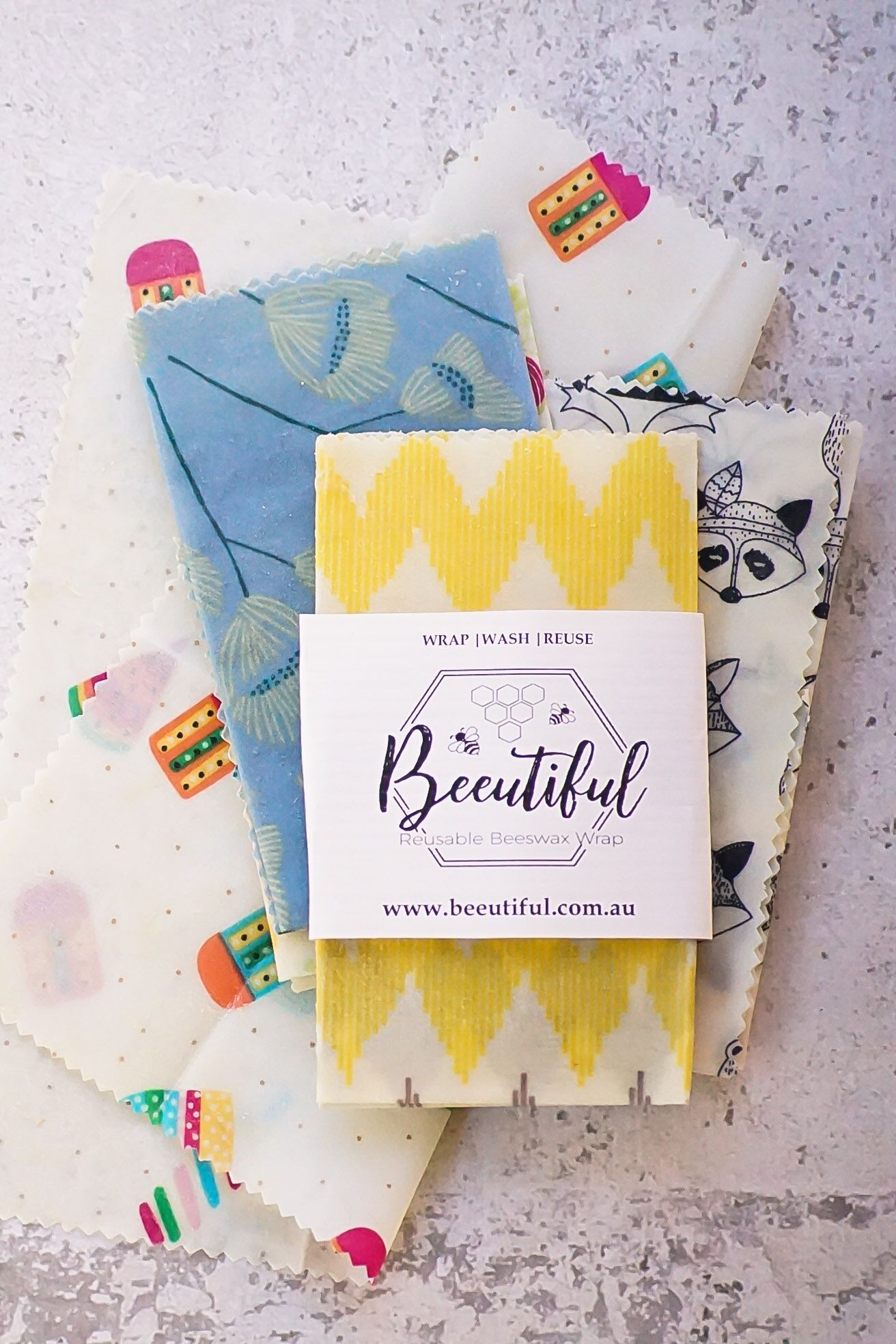 BEEUTIFUL Beeswax Wraps | The Beeutiful Pack 4 Pack