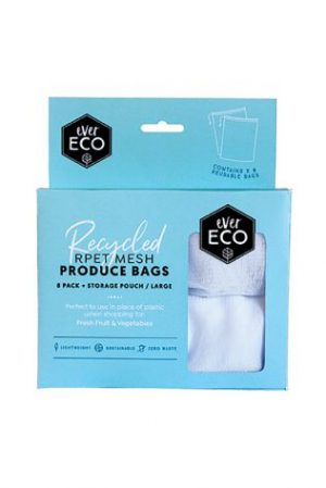 REUSABLE PRODUCE BAGS RPET MESH 8 PACK STORAGE POUCH